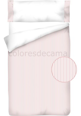 Sacco Copripiumino  Cotone e Piquet - RIGHE rosa