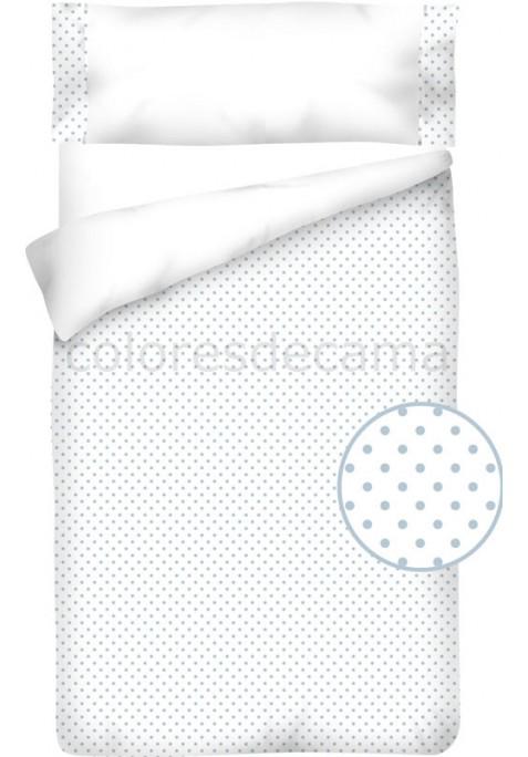 Sacco Copripiumino Cotone e Piquet - POIS azzurro