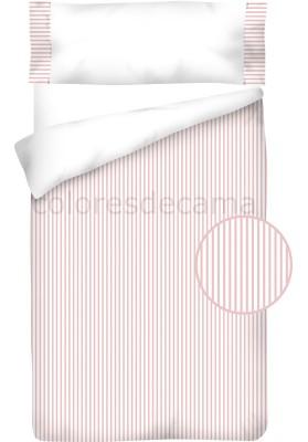 Completo Copripiumino  Cotone e Piquet - RIGHE rosa