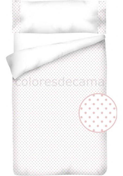 Completo Copripiumino  Cotone e Piquet - POIS rosa