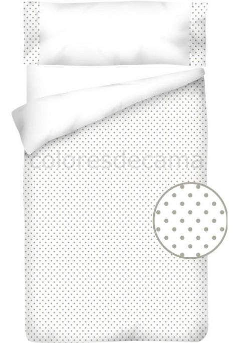 Federa da guanciale Cotone e Piquet - POIS grigio