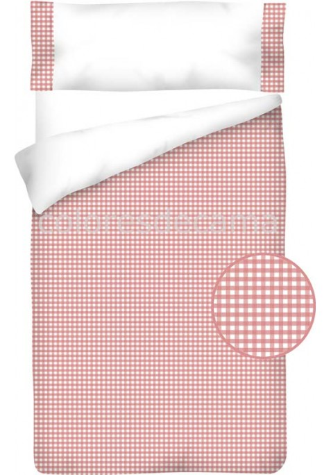 Sacco Copripiumino Cotone e Vichy - QUADRETTI rosa