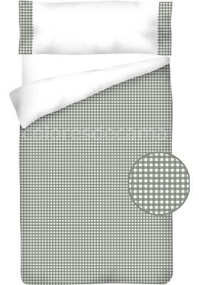 Sacco Copripiumino Cotone e Vichy - QUADRETTI grigio