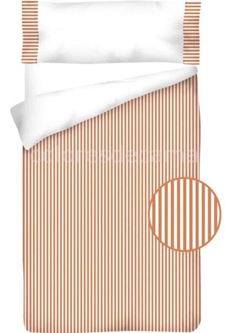 Completo Copripiumino Cotone e Vichy - RIGUE arancio