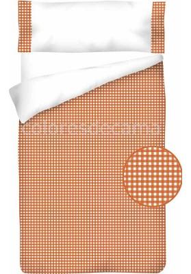 Completo Copripiumino Cotone e Vichy - QUADRETTI arancio
