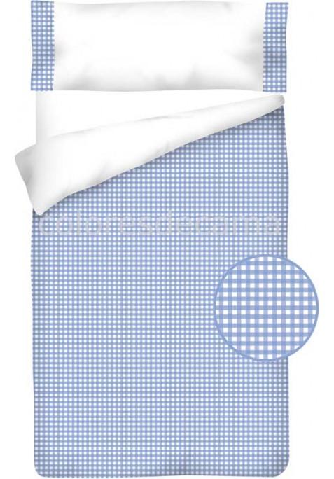 Completo Copripiumino Cotone e Vichy - QUADRETTI azzurro