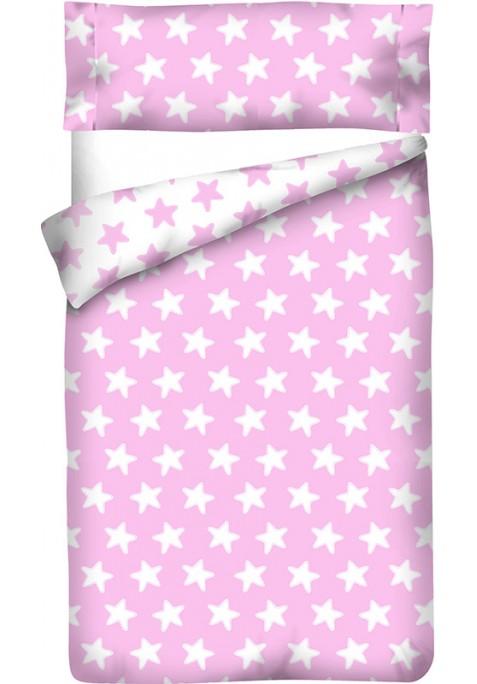 Completo Copripiumino Reversibile Cotone - Estrellas Bianche - Sfondo Rosa