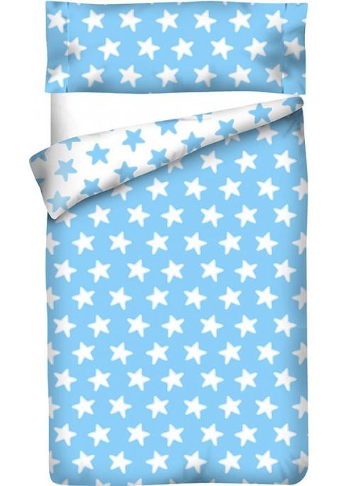 Completo Copripiumino Reversibile Cotone - Estrellas Bianche - Sfondo Azzurro
