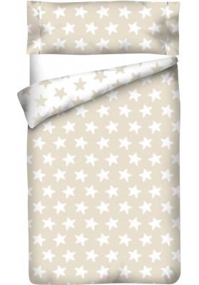 Completo Copripiumino Reversibile Cotone - Estrellas Bianche - Sfondo Sabbia