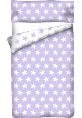 Completo Copripiumino Reversibile Cotone - Estrellas Bianche - Sfondo Lilla