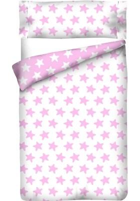 Completo Copripiumino Reversibile Cotone - Estrellas Rosa - Sfondo Bianco
