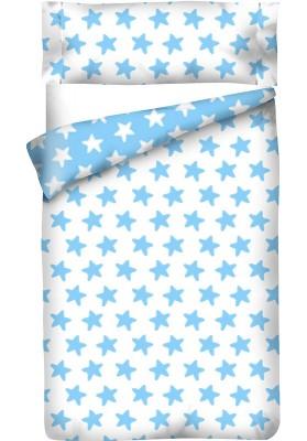 Completo Copripiumino Reversibile Cotone - Estrellas Azzurre - Sfondo Bianco