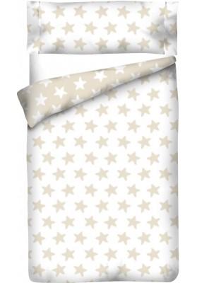Completo Copripiumino Reversibile Cotone - Estrellas Sabbia - Sfondo Bianco