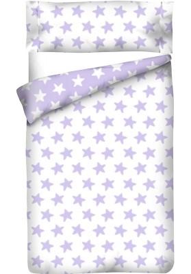 Completo Copripiumino Reversibile Cotone - Estrellas Lilla - Sfondo Bianco