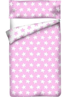 Sacco Copripiumino Reversibile Cotone - Estrellas Bianche - Sfondo Rosa