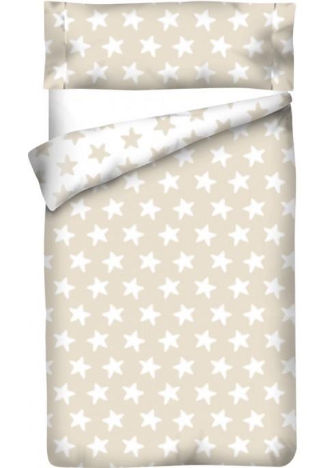 Sacco Copripiumino Reversibile Cotone - Estrellas Bianche - Sfondo Sabbia