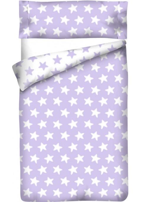 Sacco Copripiumino Reversibile Cotone - Estrellas Bianche - Sfondo Lilla
