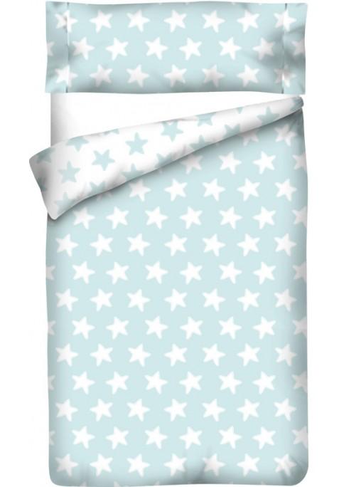 Sacco Copripiumino Reversibile Cotone - Estrellas Bianche - Sfondo Smeraldo