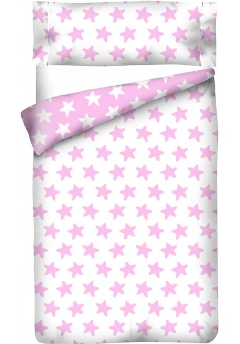 Sacco Copripiumino Reversibile Cotone - Estrellas Rosa - Sfondo Bianco