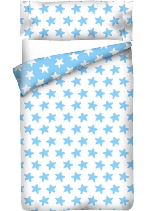 Sacco Copripiumino Reversibile Cotone - Estrellas Azzurre - Sfondo Bianco