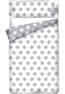 Sacco Copripiumino Reversibile Cotone - Estrellas Grige Luna - Sfondo Bianco