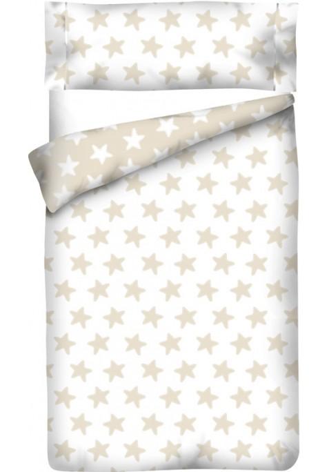 Sacco Copripiumino Reversibile Cotone - Estrellas Sabbia - Sfondo Bianco