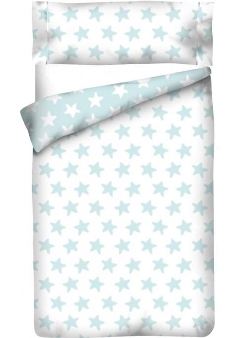 Sacco Copripiumino Reversibile Cotone - Estrellas Smeralde - Sfondo Bianco