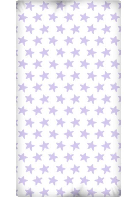 Lenzuolo da sotto con Angoli - Cotone - Estrellas Lilla - Sfondo Bianco