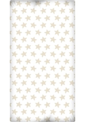 Lenzuolo da sotto con Angoli - Cotone - Estrellas Sabbia - Sfondo Bianco
