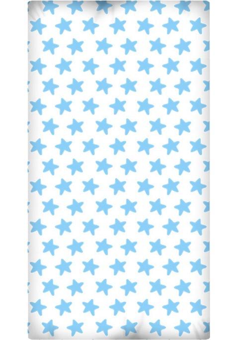Lenzuolo da sotto con Angoli - Cotone - Estrellas Azzurre - Sfondo Bianco