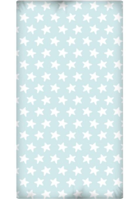 Lenzuolo da sotto con Angoli - Cotone - Estrellas Bianche - Sfondo Smeraldo