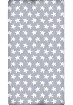 Lenzuolo da sotto con Angoli - Cotone - Estrellas Bianche - Sfondo Grigio Luna