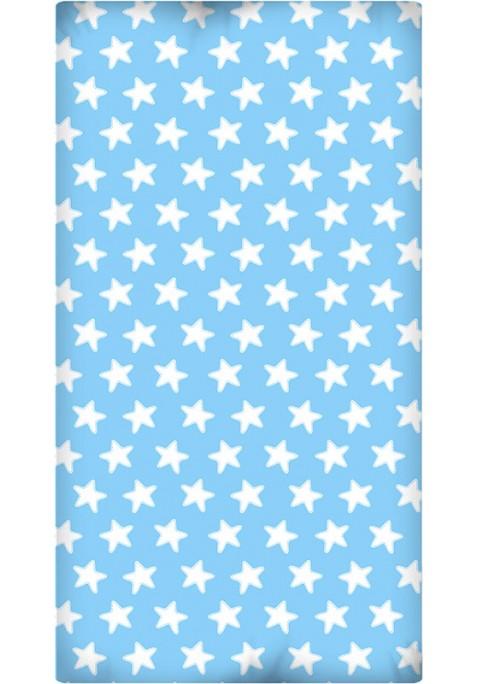 Lenzuolo da sotto con Angoli - Cotone - Estrellas Bianche - Sfondo Azzurro