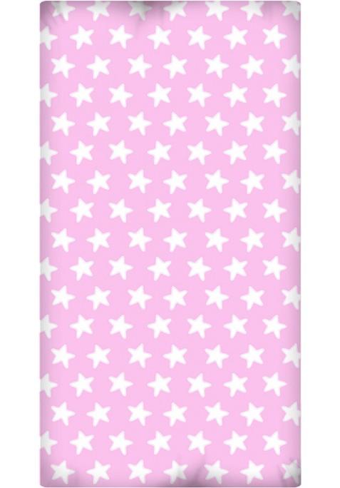Lenzuolo da sotto con Angoli - Cotone - Estrellas Bianche - Sfondo Rosa