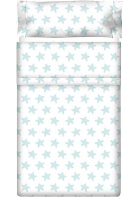 Lenzuolo di sopra Cotone - Estrellas Smeralde - Sfondo Bianco