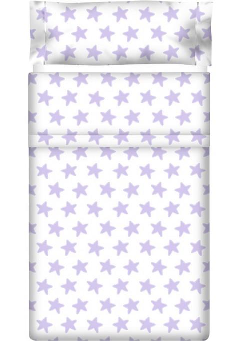 Lenzuolo di sopra Cotone - Estrellas Lilla - Sfondo Bianco