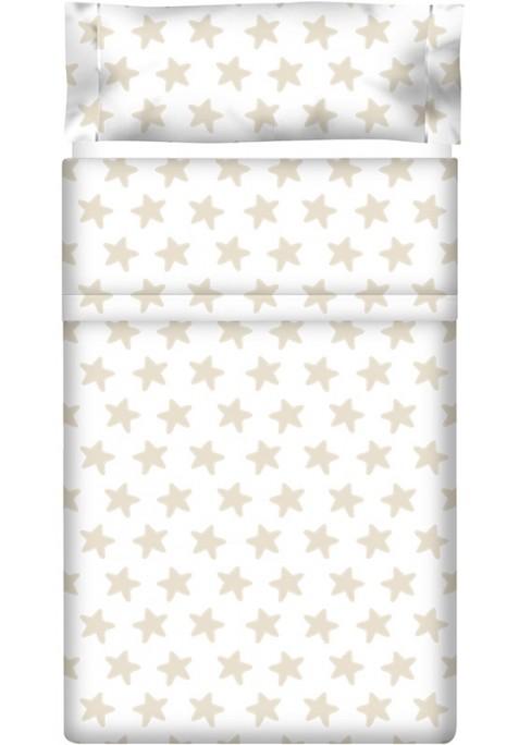 Lenzuolo di sopra Cotone - Estrellas Sabbia - Sfondo Bianco