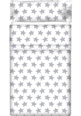 Lenzuolo di sopra Cotone - Estrellas Grige Luna - Sfondo Bianco