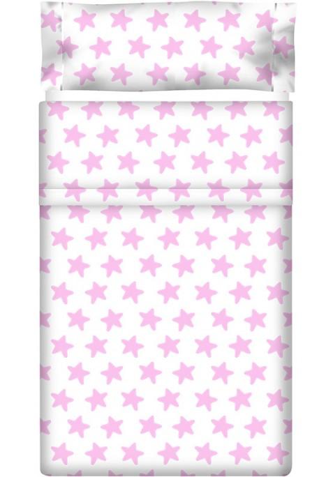 Lenzuolo di sopra Cotone - Estrellas Rosa - Sfondo Bianco