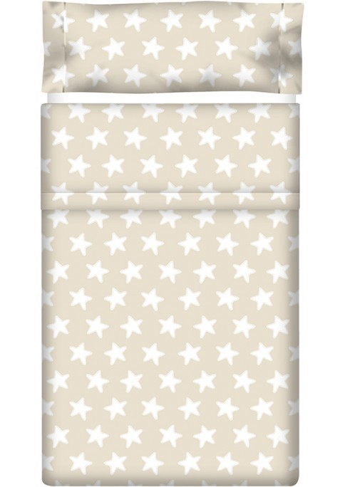 Lenzuolo di sopra Cotone - Estrellas Bianche - Sfondo Sabbia