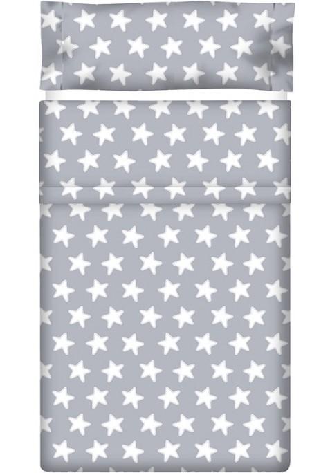 Lenzuolo di sopra Cotone - Estrellas Bianche - Sfondo Grigio Luna