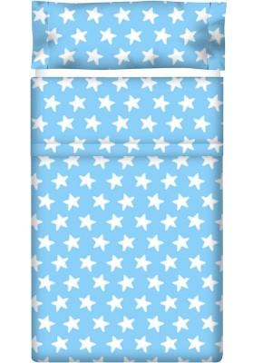 Lenzuolo di sopra Cotone - Estrellas Bianche - Sfondo Azzurro