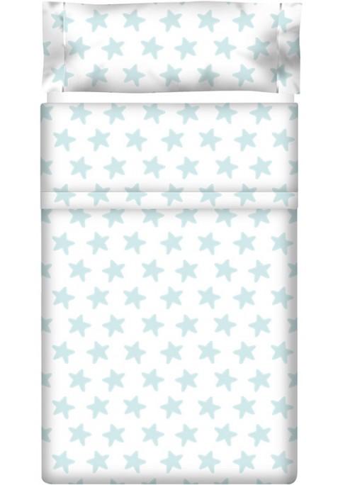 Completo Lenzuolo Cotone - Estrellas Smeralde - Sfondo Bianco