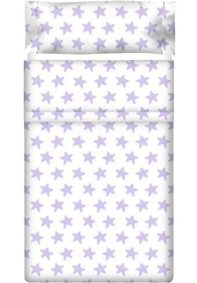 Completo Lenzuolo Cotone - Estrellas Lilla - Sfondo Bianco
