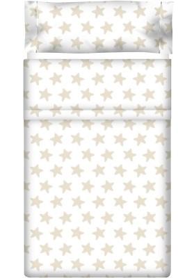 Completo Lenzuolo Cotone - Estrellas Sabbia - Sfondo Bianco