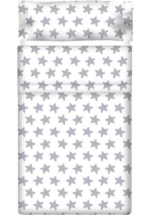 Completo Lenzuolo Cotone - Estrellas Grige Luna - Sfondo Bianco