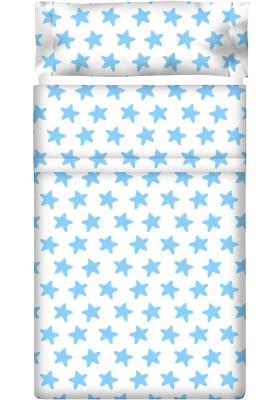 Completo Lenzuolo Cotone - Estrellas Azzurre - Sfondo Bianco