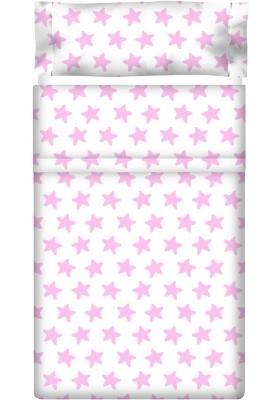 Completo Lenzuolo Cotone - Estrellas Rosa - Sfondo Bianco