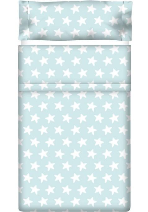 Completo Lenzuolo Cotone - Estrellas Bianche - Sfondo Smeraldo