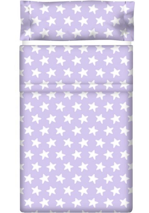 Completo Lenzuolo Cotone - Estrellas Bianche - Sfondo Lilla